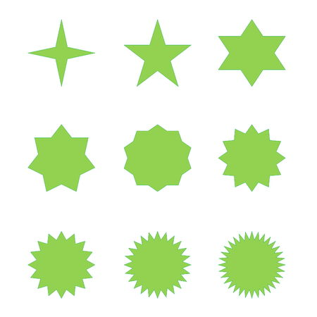 Set of many different green stars in white background photo