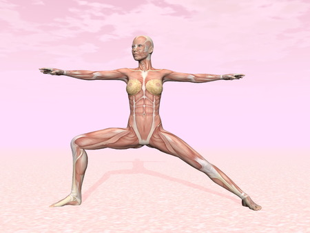 meditative: Warrior yoga pose for woman with muscle visible in pink  Stock Photo