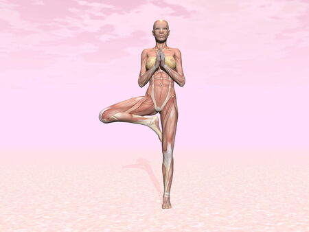 Tree yoga pose for woman with muscle visible in pink  photo