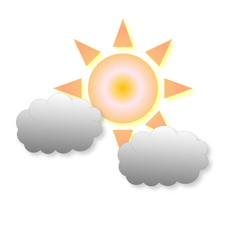 Two small grey clouds and sun as weather icon in white