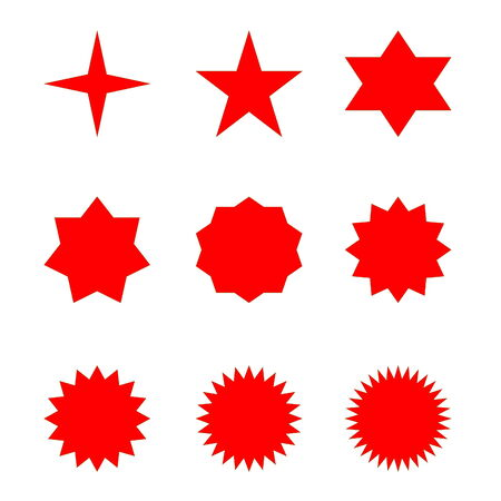 Set of many different red stars in white  photo