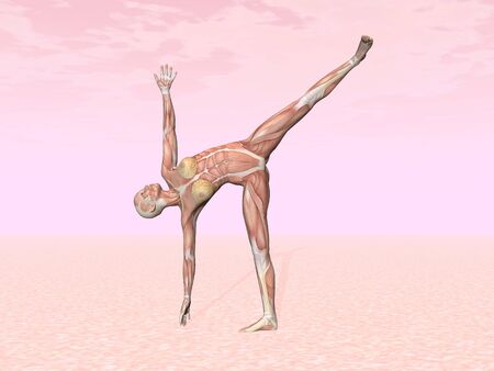 Half moon yoga pose for woman with muscle visible in pink