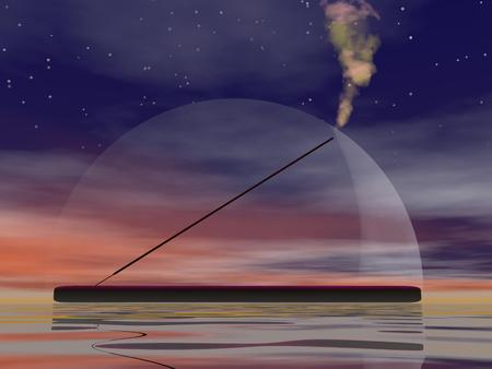 smell of burning: One incense stick and smoke upon water by night with full moon Stock Photo