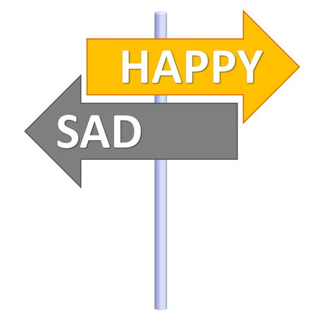 pessimist: Signpost showing two different directions between happy and sad in white background