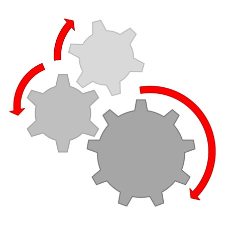 Three grey gears and red arrows to show wrong movement in white background photo