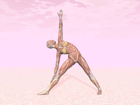 Triangle yoga pose for woman with muscle visible in pink background photo