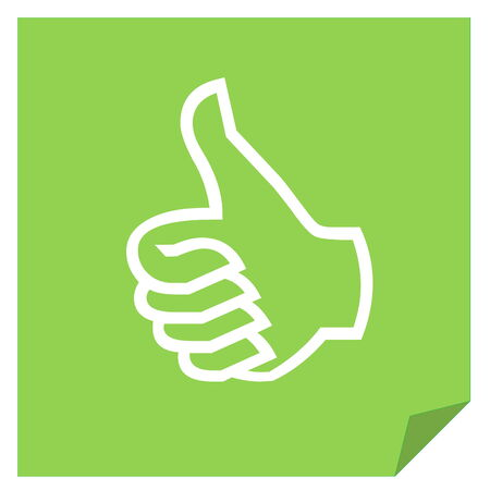 Green like vote icon in white background photo