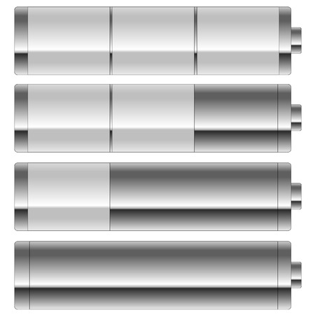 Grey battery level isolated in white background photo