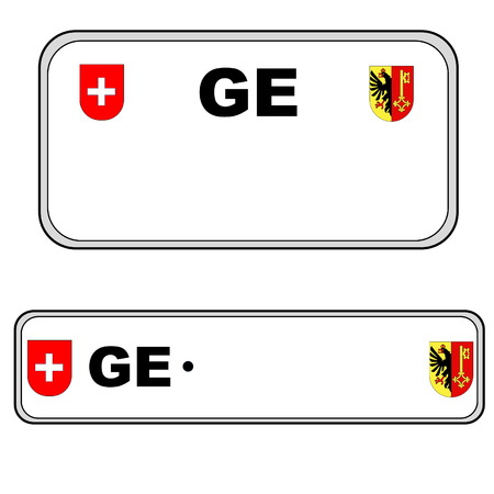 numberplate: Geneva front and back plate numbers, Switzerland, in white background