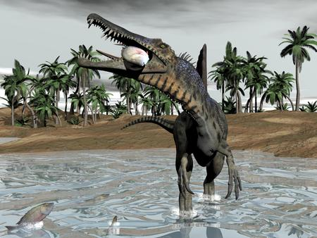 One spinosaurus dinosaur walking in water and eating fish by cloudy day