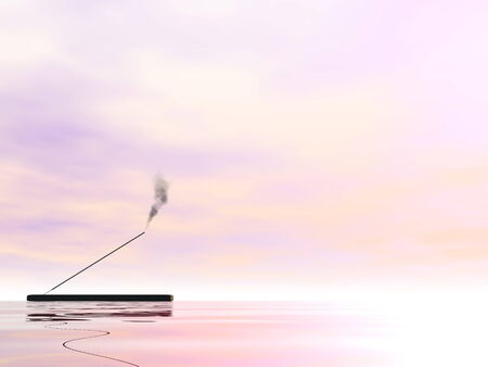 smell of burning: One incense stick with smoke upon water in pink background