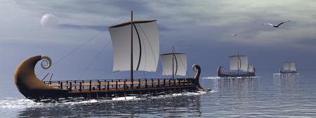 Three old greek trireme boats on the ocean by cloudy night with full moon