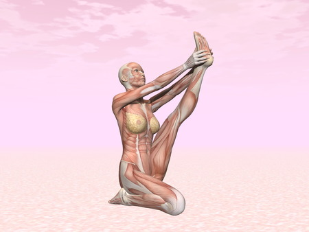 Heron yoga pose for woman with muscle visible in pink background photo