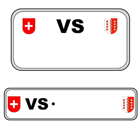 numberplate: Valais front and back plate numbers, Switzerland, in white background