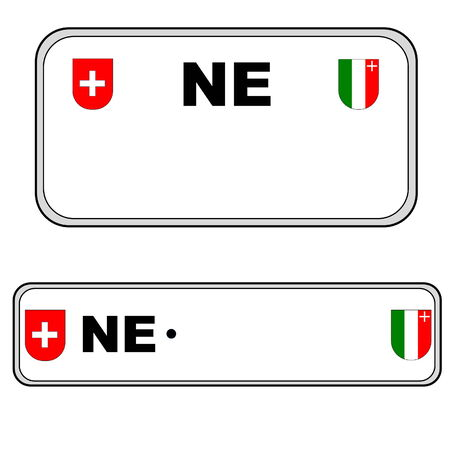 numberplate: Neuchatel front and back plate numbers, Switzerland, in white background Stock Photo