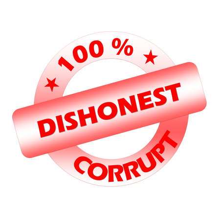 dishonesty: Red corrupt stamp isolated in white background