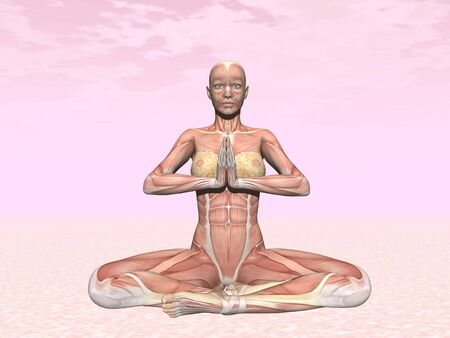 Meditation yoga pose for woman with muscle visible in pink background photo