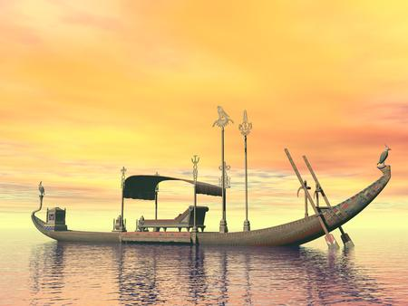 Egyptian sacred barge with throne floating on the water by sunset Banque d'images