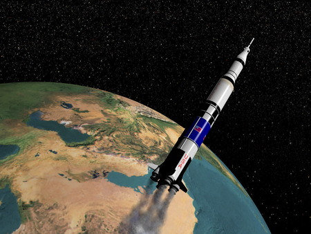 Saturn V spaceship flying upon the earth  Stok Fotoğraf