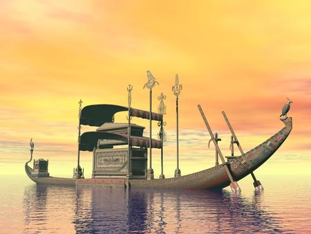 egyptian woman: Egyptian sacred barge with tomb floating on the water by sunset Stock Photo