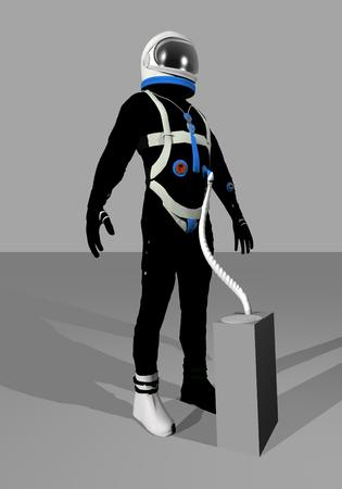 space suit: Black gemini space suit standing in grey background. Stock Photo