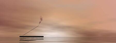 incense: One incense stick with smoke upon water in brown background Stock Photo