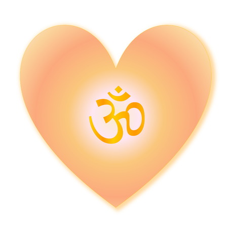 aum: Golden aum in heart isolated into white background