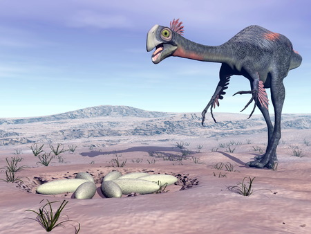 Female gigantoraptor dinosaur walking to its nest full of eggs in the desert by day light Banque d'images
