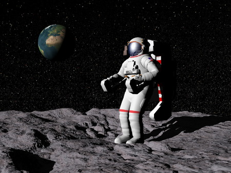 Astronaut on moon with earth in the background. Stock Photo