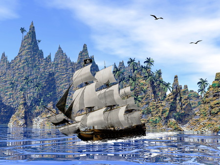 Pirate ship next to the coat by beautiful day with seagulls photo