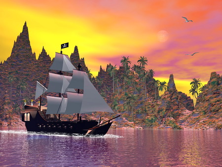 Pirate ship next to the coat by colorful sunset with seagulls photo