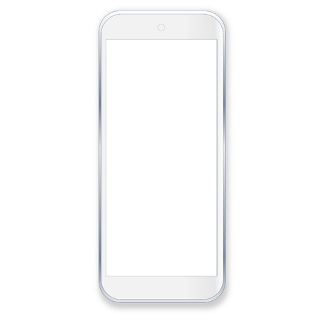 One smartphone with blank screen in white background photo