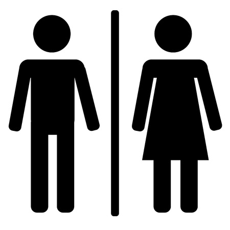 nude man: Black male and female sign on white background