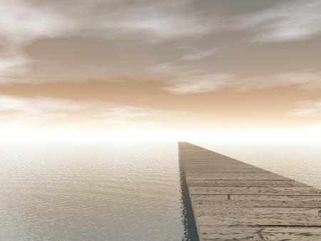 footbridge: Old wooden pontoon leading to the horizon upon water by brown day