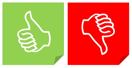 dislike it: Colorful like and dislike vote icons in white background
