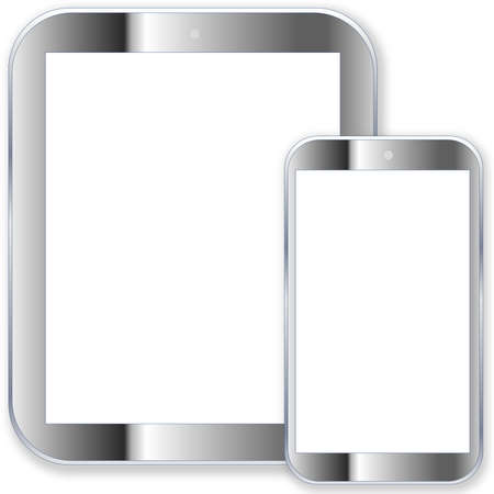 Grey tablet pc computer and smartphone with blank screen in white background photo
