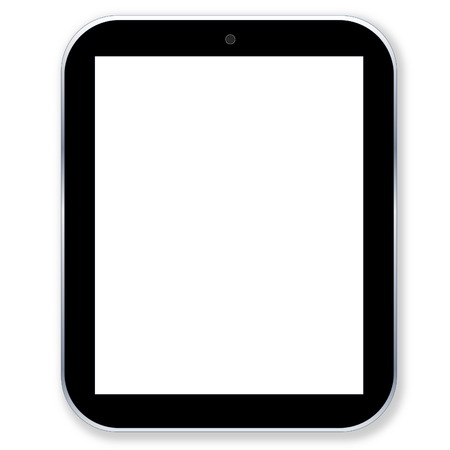 Black tablet pc computer with blank screen in white background photo