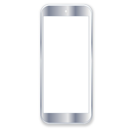 One grey smartphone with blank screen in white background photo