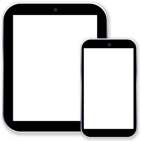 Black tablet pc computer and smartphone with blank screen in white background photo