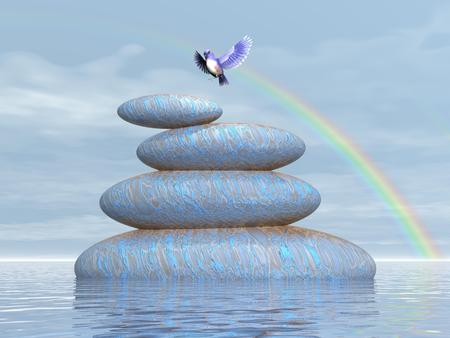 Beautiful blue bird flying upon stones in water under rainbow by clear day photo