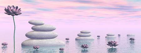 healing: Pink lily flowers and leaves next to white stones upon water by colorful day