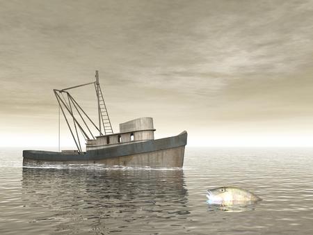 redes pesca: Viejo barco de pesca junto a un pez en el mar durante el d�a nublado