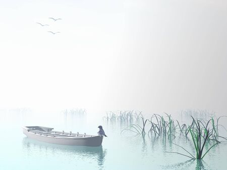 Blue bird on small wood boat alone onto the water next to grass by white day photo