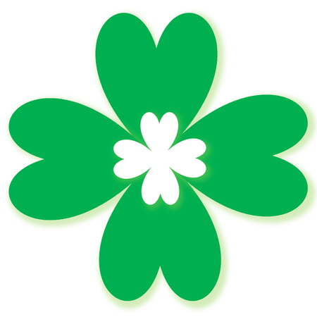 Four leaf clover, St  Patrick s day symbol, in white background photo