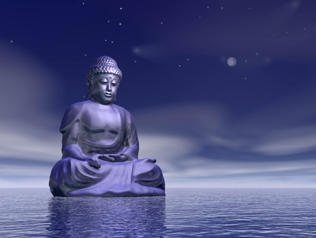 One blue buddha meditating on water by beautiful night photo