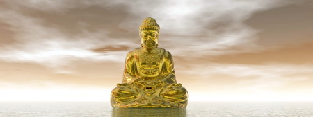 One golden buddha meditating on water by brown day photo
