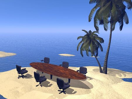 Business table and chairs for meeting on an island in middle of the ocean photo
