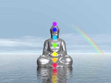 3d om: Buddha meditating with seven colorful chakras upon ocean next to beautiful rainbow