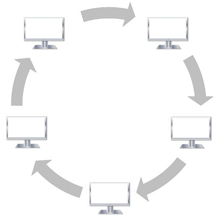 Communication between five computers into a circle with arrows, in white  photo