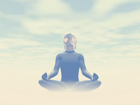 Man wearing gas mask meditating about pollution in foggy